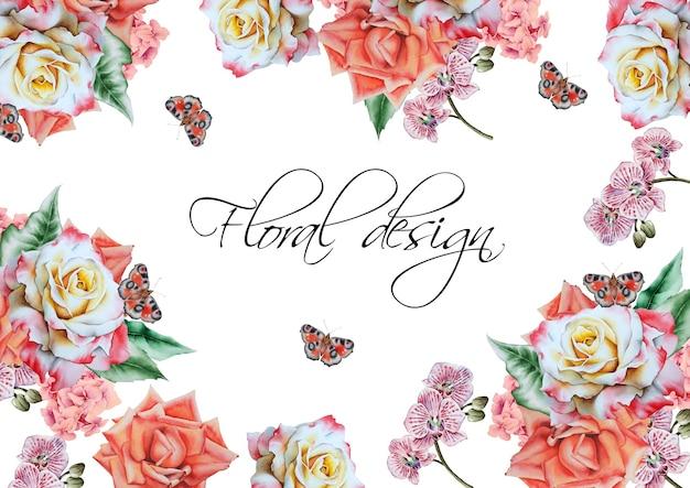 Cartão do convite com flores. desenhado à mão.