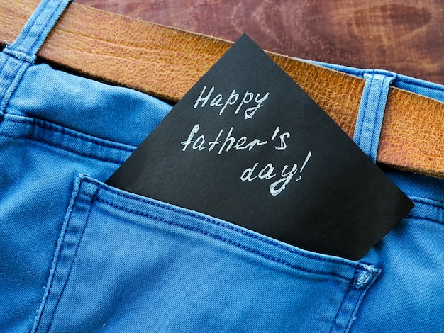 Cartão do dia dos pais. jeans pocket masculino presente para melhor papai. Foto Premium