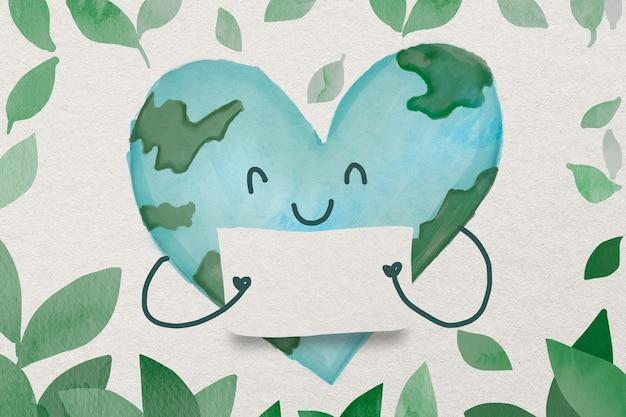 Cartão em aquarela de conservação do meio ambiente com globo em forma de coração