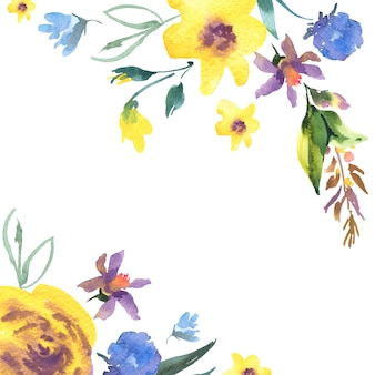 Cartão em aquarela floral vintage com flores silvestres