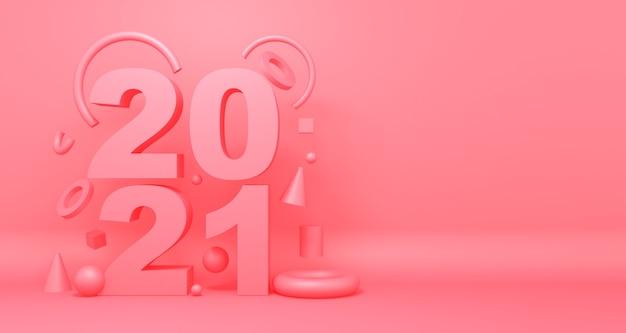 Cartão feliz ano 2021 com formas abstratas rosa