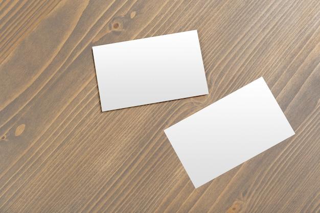 Cartão negócio, ligado, tabela madeira