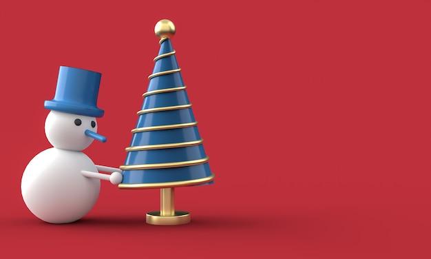 Cartão postal de feliz natal. árvore de natal do whit do boneco de neve. renderização 3d.