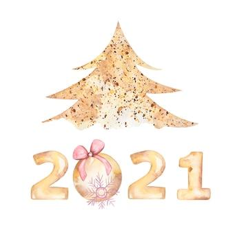 Cartão postal de saudação de feliz ano novo em aquarela de 2021 com árvore de natal, floco de neve