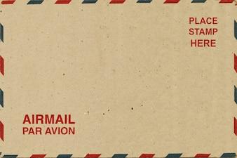 Cartão postal em branco traseiro do correio aéreo.
