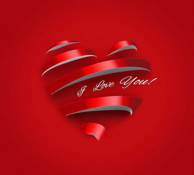 Cartão romântico de papel coração criativo