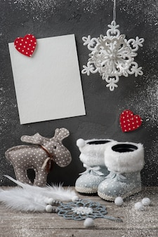 Cartão vazio e decorações de natal