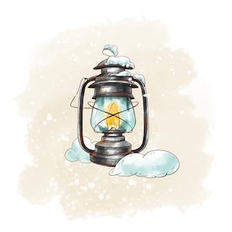 Cartão vintage de inverno com lanterna rústica, neve. ilustração de férias