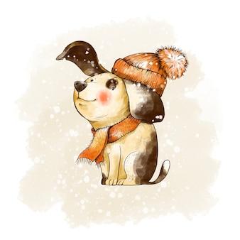 Cartão vintage de natal de inverno. cão pequeno bonito com um chapéu vermelho. ilustração de contos de fadas