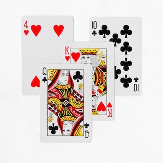 Cartas de jogar baralho completo e modelo de fundo branco traseiro
