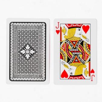 Cartas de jogar cartão de jack e maquete de fundo branco traseiro