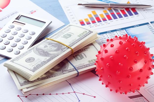 Cartas e histogramas, dinheiro. o conceito de ascensão e queda da economia mundial, indicadores financeiros e renda. lucro e margem de títulos e ações.