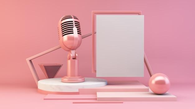 Cartaz branco e renderização em 3d microfone