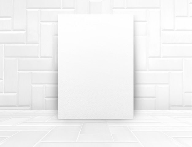 Cartaz branco mock-se na sala de azulejos brancos lustrosos, fundo de textura moderna