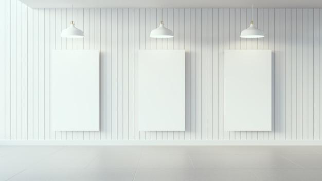 Cartaz branco na parede de madeira branca e design de interiores / imagem 3d render