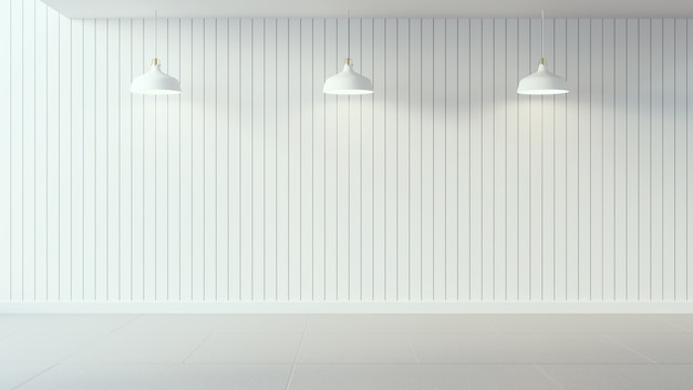 Cartaz branco na parede de madeira branca e design de interiores