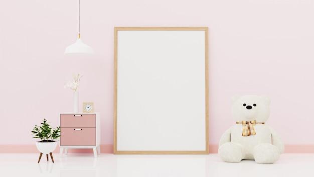 Cartaz com moldura de madeira vertical em pé no chão no interior do quarto com manta desfeita, rosa e plantas verdes na parede branca vazia. renderização em 3d