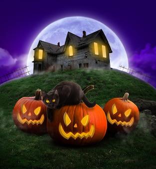 Cartaz da festa de halloween feliz dia das bruxas à noite abóboras assustadoras e gato preto