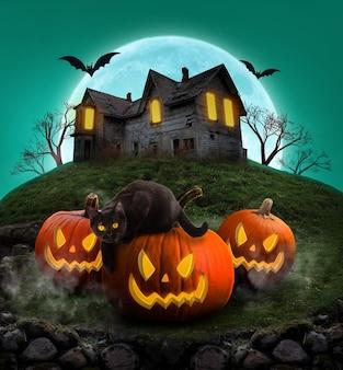 Cartaz da festa de halloween fundo decorativo de halloween abóboras assustadoras e gato preto