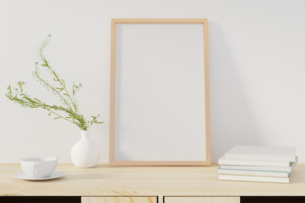 Cartaz da maquete com o quadro que está na mesa na sala de visitas. renderização em 3d. - ilustração