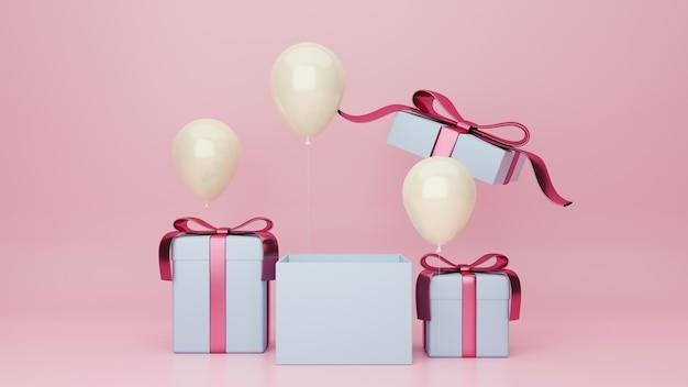 Cartaz de celebração do dia dos namorados banner surpresa cartão on-line na parede rosa com caixas de presente e balões Foto Premium