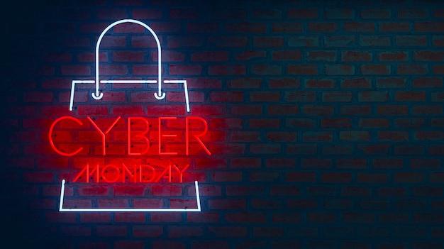 Cartaz de cyber monday em letras de néon