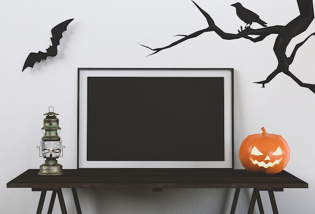 Cartaz de halloween simulado na sala de estar e abóboras