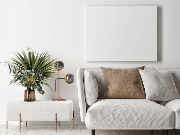 Cartaz de maquete, design escandinavo de interior aconchegante, renderização em 3d, ilustração em 3d