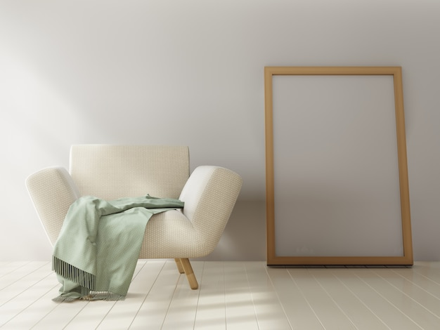 Cartaz de maquete em fundo de parede branca. renderização em 3d.