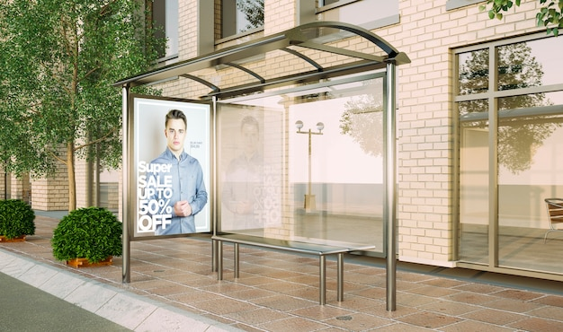Cartaz de parada de ônibus maquete de venda de moda renderização em 3d