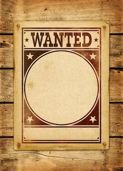 Cartaz de procurado em uma placa de madeira