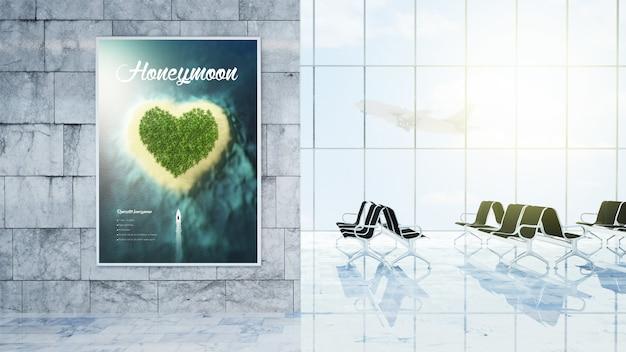 Cartaz de propaganda na renderização em 3d do saguão do aeroporto