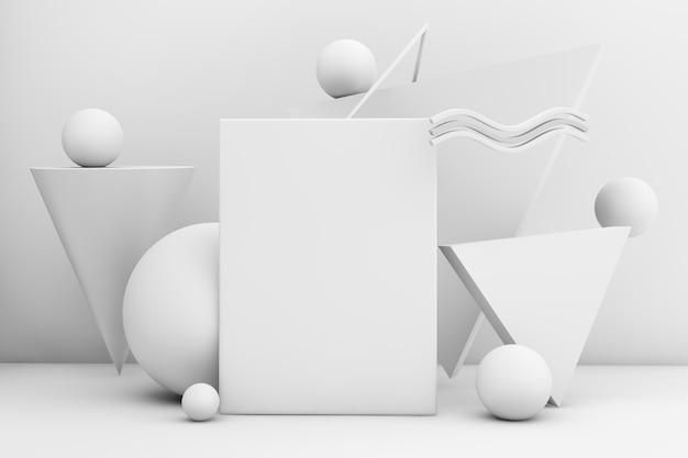 Cartaz de quadro em renderização 3d com formas geométricas