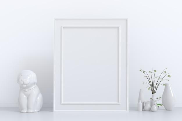 Cartaz de quadro simulado acima com planta verde em vaso, estátua de cão estuque branco