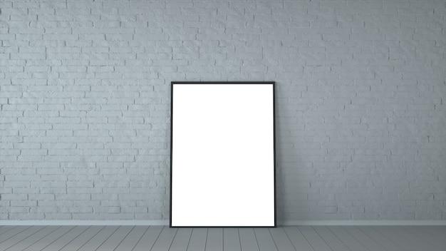 Cartaz em branco branco na parede de tijolos antigos e quarto de piso de madeira. modelo de simulação para o seu conteúdo. para exibição de produtos e fins publicitários e promocionais. renderização 3d.
