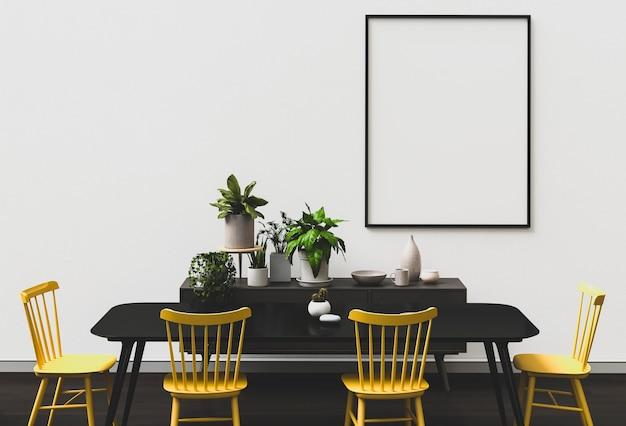 Cartaz em branco da maquete em uma parede. quarto moderno interior da sala de jantar estilo minimalista.