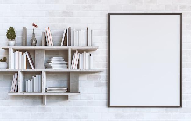 Cartaz em branco de maquete em uma parede de tijolos brancos com prateleiras
