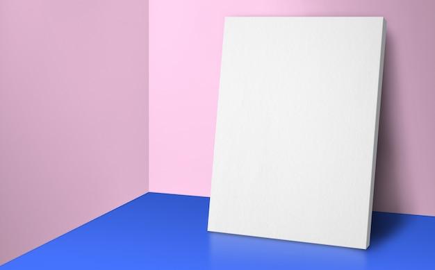 Cartaz em branco na sala de canto azul e rosa pastel studio com fundo de parede e piso