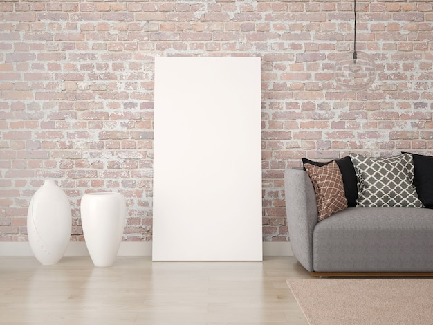 Cartaz em branco no chão com um sofá e vasos