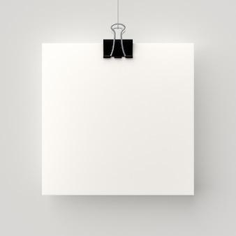 Cartaz em branco pendurado por um fio