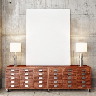 Cartaz em grande mesa de madeira com duas lâmpadas