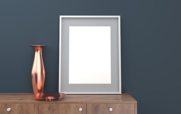 Cartaz em uma moldura preta em um fundo de parede cinza com uma cômoda e um vaso, renderização em 3d, cena de maquete