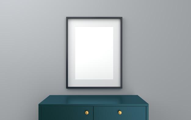 Cartaz em uma moldura preta em um fundo de parede cinza com uma cômoda, renderização em 3d, cena de maquete