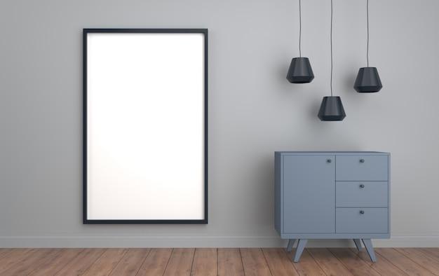 Cartaz emoldurado no fundo da parede cinza com cômoda e lâmpadas, renderização em 3d, cena da maquete