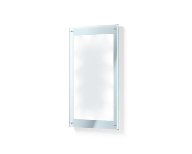 Cartaz iluminado branco em branco sob o suporte de vidro