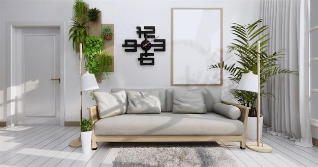 Cartaz interior com frame, sofa, planta e lmpada no estilo do zen da sala de visitas. .