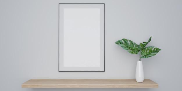 Cartaz interior em casa simulado com poster e planta em vaso branco