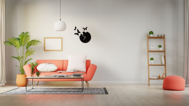 Cartaz interior mock-se sala de estar com sofá branco colorido. renderização em 3d.
