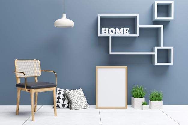 Cartaz interior simulado com moldura no chão, no interior da sala de estar.