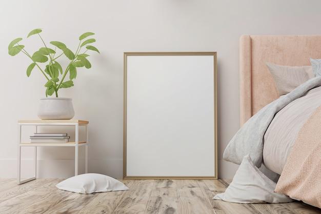 Cartaz interior simulado com moldura vertical no chão, no interior do quarto de casa.